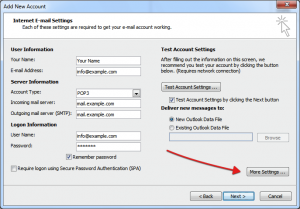 Configure Webmail in outlook